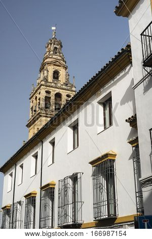 Cordoba (Andalucia Spain): belfry of the historic cathedral known as mezquita-catedral