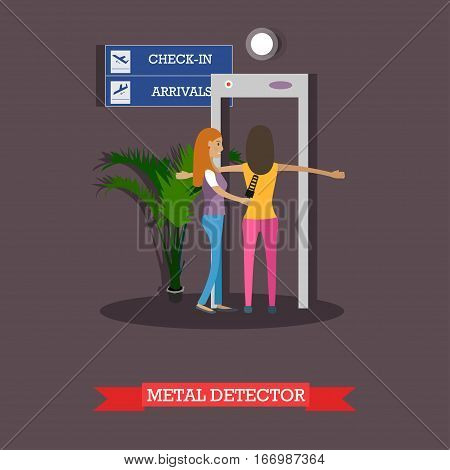 Vector illustration of security guard scanning passenger with metal detector. Airport terminal, security checkpoint concept design element in flat style.
