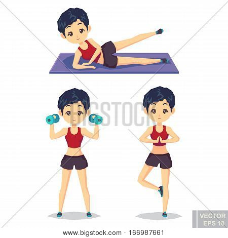 Active Fitness Girl Lifts Weights And Exercises. Vector Character Illustration In Different Poses In