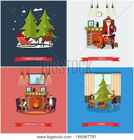 Vector set of Christmas and New Years Eve celebration concept posters, banners. Santa Claus, Wish, Gift, Christmas time design elements in flat style.