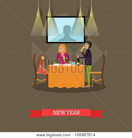 Vector illustration of family New Years eve celebration. Father, mother and daughter having festive dinner, adults with glasses of champagne. Family traditions concept design element in flat style.