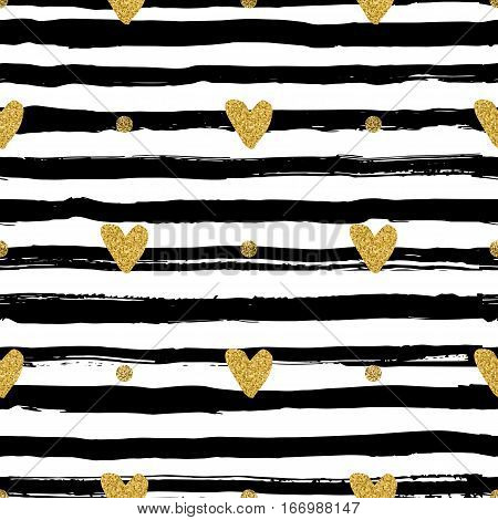Gold hearts seamless pattern, hand-drawn black stripes brush and ink. Trendy valentines background, love backdrop, Vector illustration