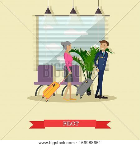 Vector illustration of pilot with baggage. Airline staff concept design element in flat style.