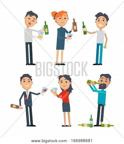 Drunk people in rumpled clothes, with messy hairstyle holding bottle or grass of wine flat style vector isolated on white. Drinking alcohol. Hangover after party. For healthy lifestyle concepts design