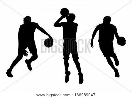 Set of basketball players vector silhouettes, Team sport, streetball