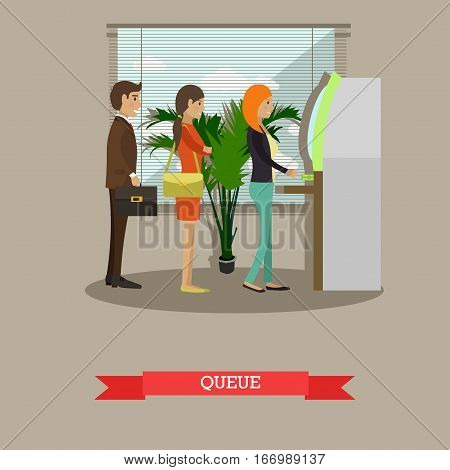 Vector illustration of people waiting in line for cash money. Queue, ATM, cash dispenser. Banking and technology concept design element in flat style