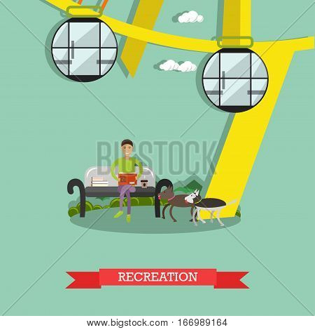 Vector illustration of amusement park. Recreation concept design element with ferris wheel attraction, boy sitting on bench and reading book. Cartoon characters, flat style.