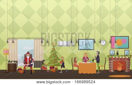 Vector illustration of people making wishes, children with gifts and Santa Claus fulfilling their wishes. Christmas time of miracles concept design element in flat style.