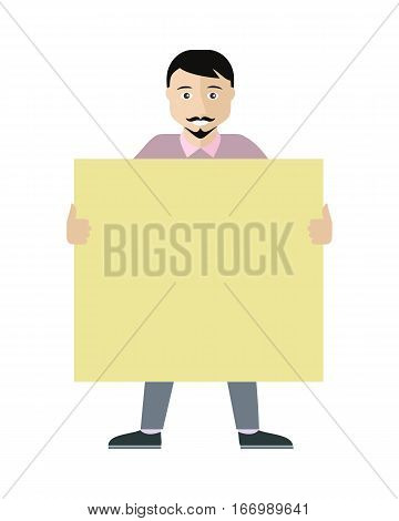 Poster template with empty paper sheet. Smiling bearded brunet man  holding blank board flat vector illustration isolated on white background. For advertising, presentation, announcement design