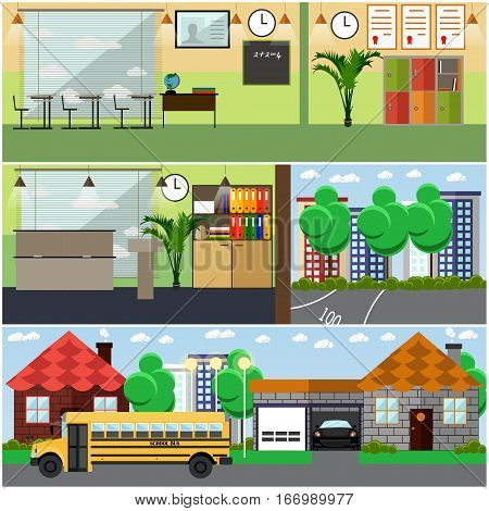 Vector set of school building interior concept design elements in flat style. Classroom at school, university, college with furniture, chalkboard, training appliances. Locker, school bus.