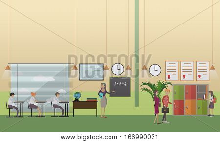 Vector illustration of mathematics teacher with school kids at the lesson. Locker. School office, education concept design element in flat style.