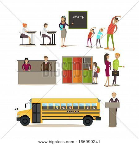 Vector set of school kids, students, teachers cartoon characters in flat style. School concept design elements, icons isolated on white background.