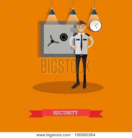 Vector illustration of security guard standing near bank safe. Bank security service concept design element in flat style