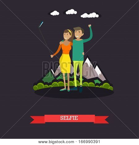 Vector illustration of young couple taking selfie with mobile and selfie stick monopod. Photo equipment design element in flat style.