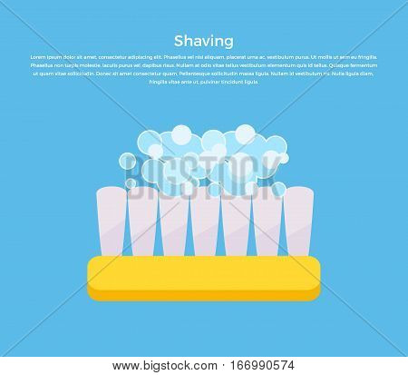 Shaving banner illustration. Human basic hygiene conceptual illustration. Flat style design. Shaving brush in soapy foam vector for skin care products ad, cosmetics companies, web pages design.