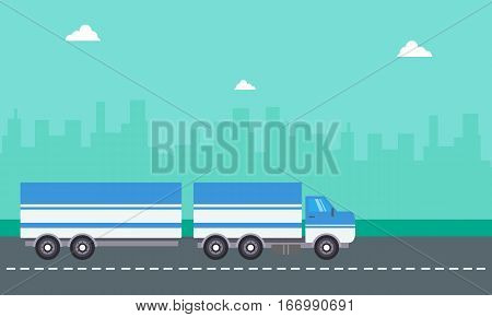 Vector flat of container truck landscape collection stock