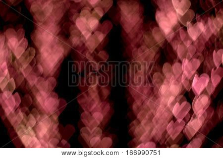 Saint Valentine's Day Background bokeh effect pink hearts