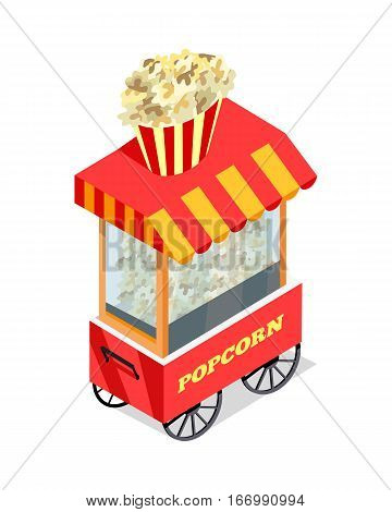 Popcorn trolley in isometric projection style design icon. Street fast food concept. Food truck with umbrella illustration. Isolated on white background. Popcorn mobile shop. Vector illustration