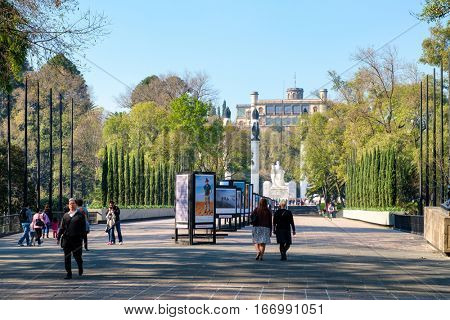 MEXICO CITY,MEXICO - DECEMBER 27,2016 : Entrance of Chapultepec Park in Mexico City with the castle on the background
