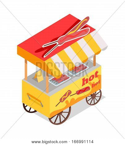 Hot dog cart store. Street eatery on wheels with fried sausages on sticks isometric vector illustration isolated on white background. For fast food cafe ad, apps icon, game environment design