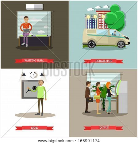 Vector set of banking concept posters. Waiting hall, collector, safe and queue design elements in flat style.