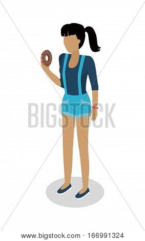 Street food buyer isolated. Woman in casual cloth eats donut. Cartoon character with tasty bakery. Concept illustration for street food consumption. Quick snack. Fast food. Vector in flat style design