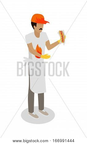 Hot dog seller with fresh cooked hotdog isolated. Street food vendor. Unhealthy food salesman. Restaurant worker. Human market seller. Shop worker, chief face. Delivery man icon. Vector illustration