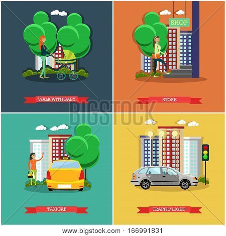 Vector set of street traffic posters, banners in flat style. Walk with baby, Store, Taxicab and Traffic light design elements.