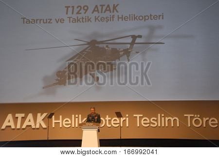 ANKARA, TURKEY - JUNE 10 2014 : Commander of Turkish Armed Forces Hulusi Akar on the stage of Turkish Land Forces Aviation Command