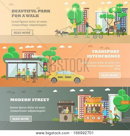 Vector set of street traffic horizontal banners. Beautiful park for a walk, Transport interchange and Modern street design elements in flat style.