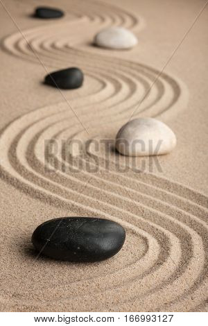 Perspective of the stones on the sand. Relaxation and relaxing