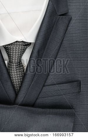 Classic male suit shirt and tie closeup. View from above