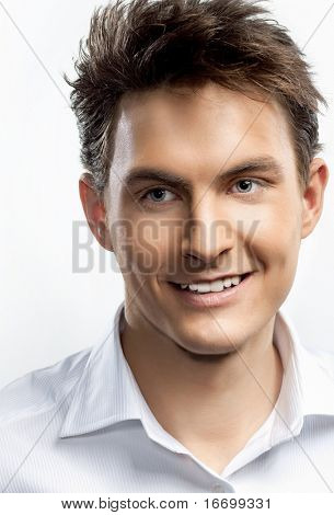 attractive man close up portrait on white background