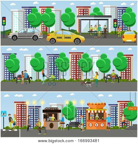 Vector set of street traffic concept design elements in flat style. People crossing street, hailing taxi, walking dogs, shopping walking with baby, waiting for bus.