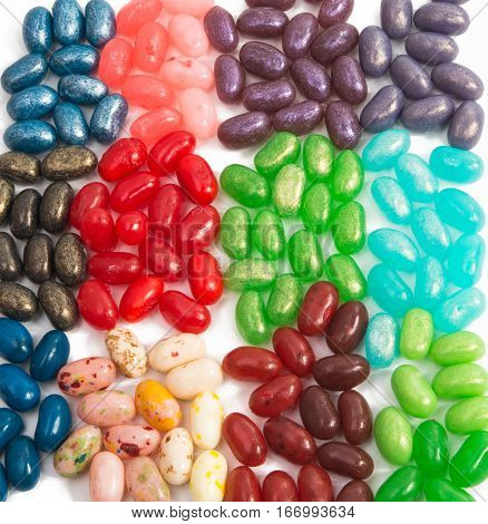 colorful jelly beans isolated on white background