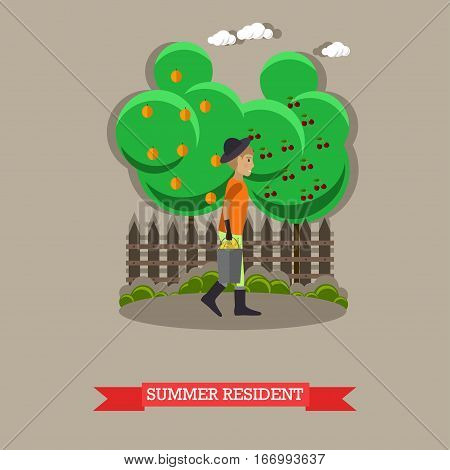 Summer resident, vector illustration in flat style. Gardener man with bucket of ripe pears.