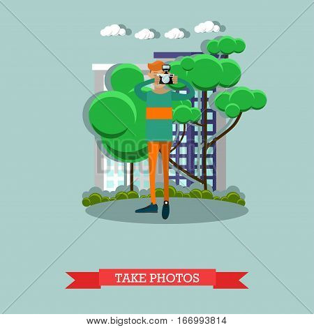 Vector illustration of photographer taking photo in the street. Camera operator, correspondent, paparazzi character in flat design.