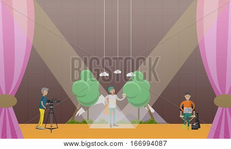 Vector illustration of actor playing a part of Hamlet in Shakespeares tragedy, videographer with video camera on tripod and producer reading screenplay. Theater concept design element in flat style.