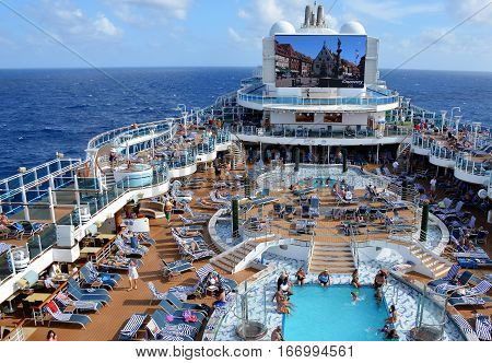 CARIBBEAN SEA - JANUARY, 2017: Aerial view of the pool deck on a cruise ship.