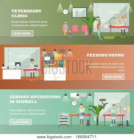 Vector set of veterinary care concept horizontal banners. Veterinary clinic, Feeding young and Serious operations in animals design elements in flat style.