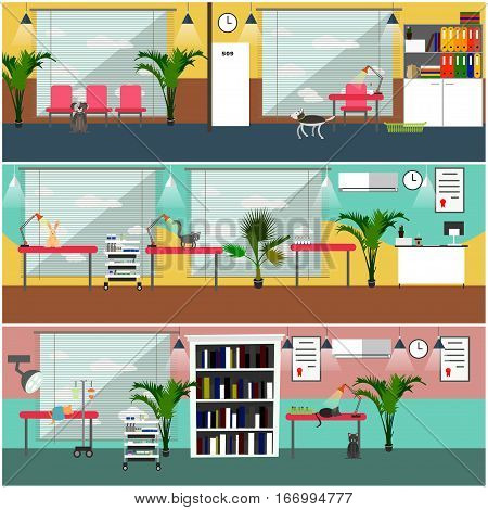 Vector set of veterinary clinic interior concept posters, banners. Flat style design elements.