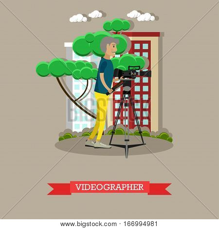 Vector illustration of videographer with video camera on tripod. Professional cameraman character. Mass media jobs concept design element in flat style.
