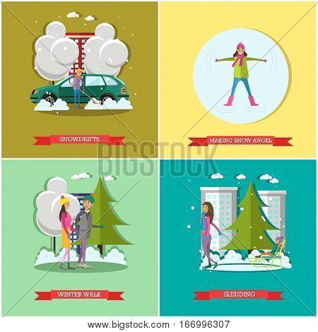 Vector set of winter time concept posters, banners. Snowdrifts, Making snow angel, Winter walk and Sledding design elements in flat style.