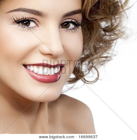attractive smiling woman portrait on white background with apple poster