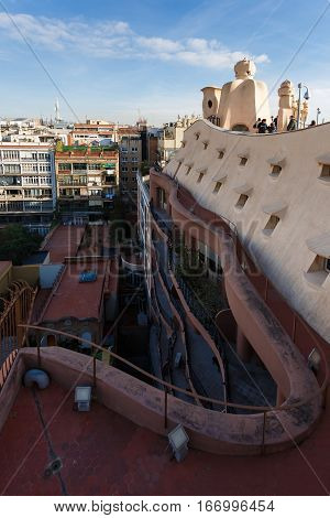 Barcelona Spain - January 02 2017: On the roof of the House of Mila by famous architect Antoni Gaudi