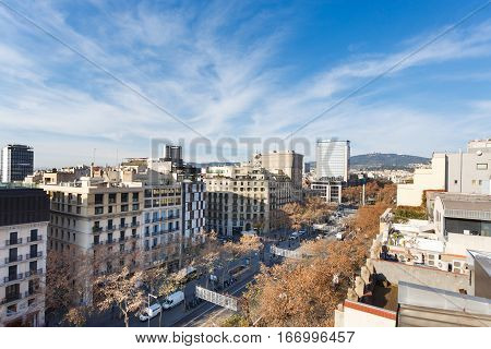 Barcelona Spain - January 02 2017: View of the Passeig de Gracia street from roof of a House of Mila