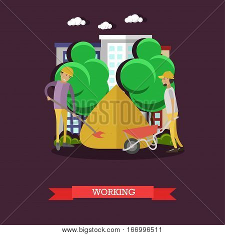 Vector illustration of builders working at construction site in flat style. Construction workers taking sand for building mortar.