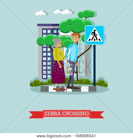 Vector illustration of young man helping elderly woman to cross the street. Voluntary organization services concept design element in flat style.