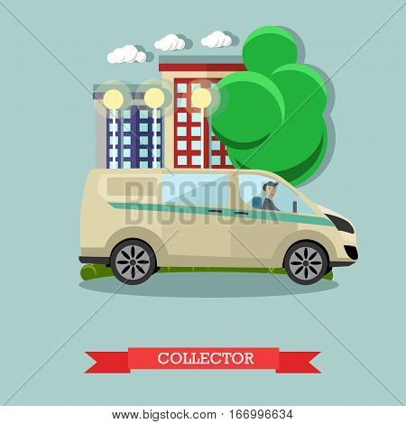 Vector illustration of collector, armored bank car. Banking, transportation of valuables, collection services concept design element in flat style.