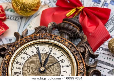 2017 new year concept old clock with dollar